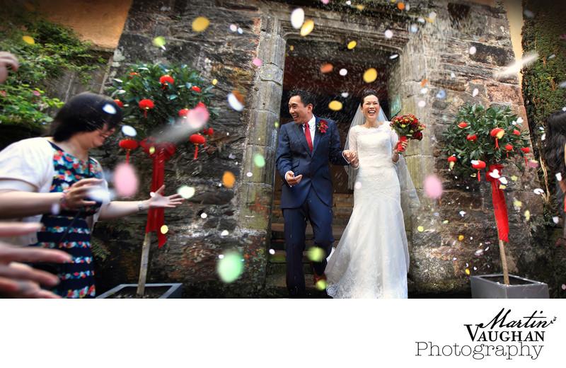 Colourful fun wedding photographs at Portmeirion