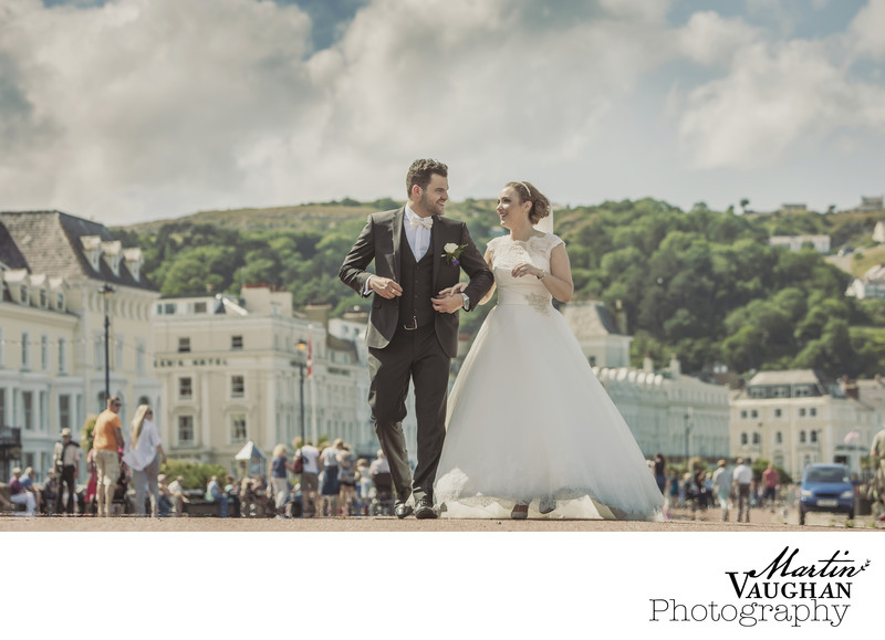 Llandudno wedding photographs on the promenade