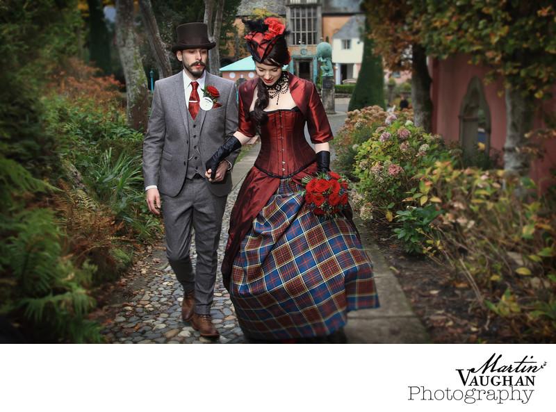 Winter wedding photographs Portmeirion