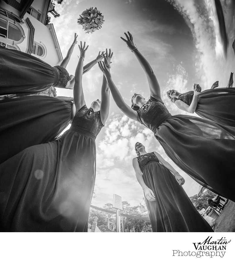 Fun wedding photography at portmeirion North Wales