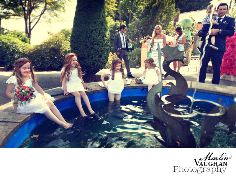 Wedding photographs of bridesmaids Portmeirion