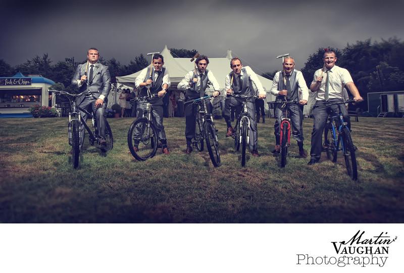 North Wales men play bicycle polo at wedding