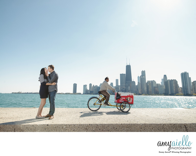 Chicago north avenue beach engagement session chicago luxury wedding photographer amy aiello photography