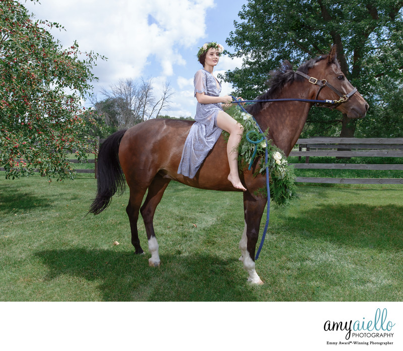 chicago high school senior photoshoot fashion editorial inspired equine horse boho floral wreath
