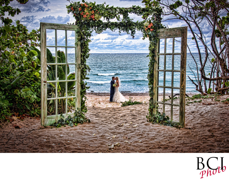 Florida Beach Wedding Portrait through antique doors
