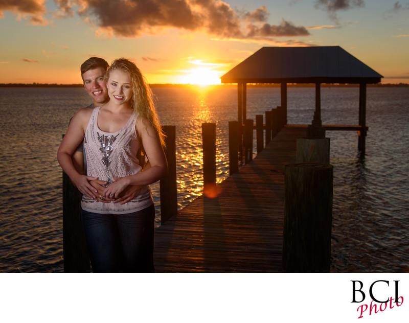 Dramatic sunset engagement session images