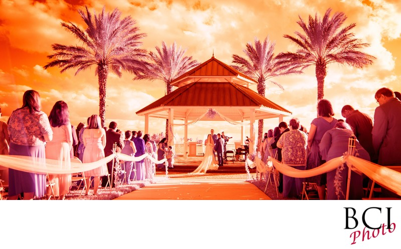 Panorama wedding ceremony image at tradition town hall