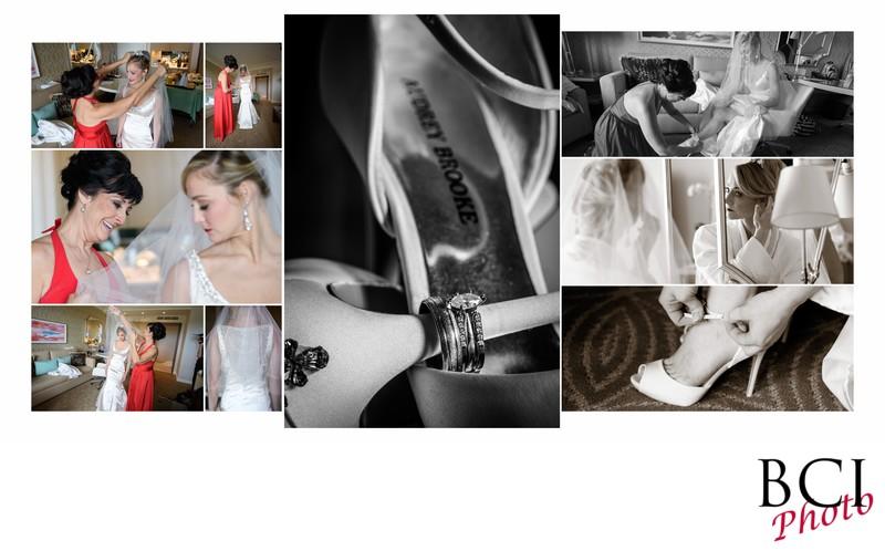 Bride getting ready wedding album page design