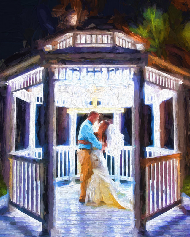 Private Dance in Gazebo in Oil Painting like rendition.