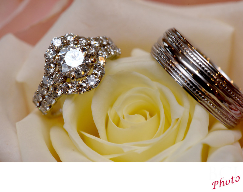 Close up of wedding rings.