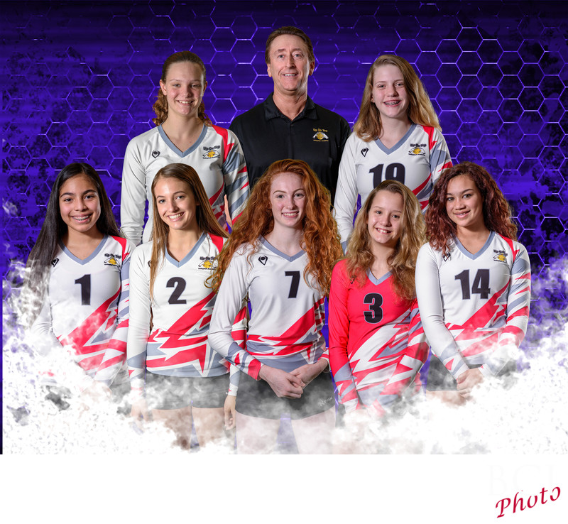 Volleyball team shot composited in post production