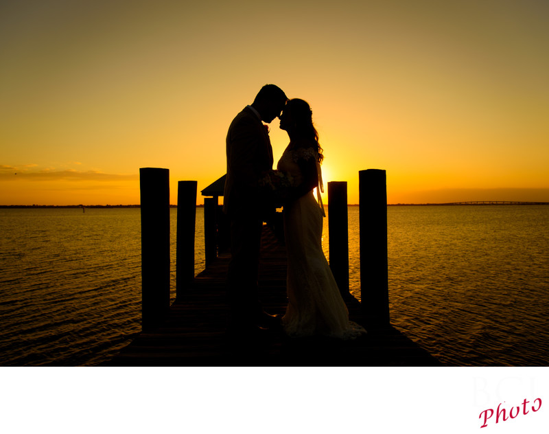 Fantastic Sunset Wedding photos on the Beach in Florida at the House of Refuge.