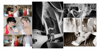 Bride getting ready wedding album page design