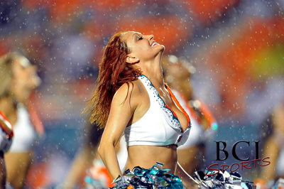 Miami Dolphins Cheerleaders perform in the rain