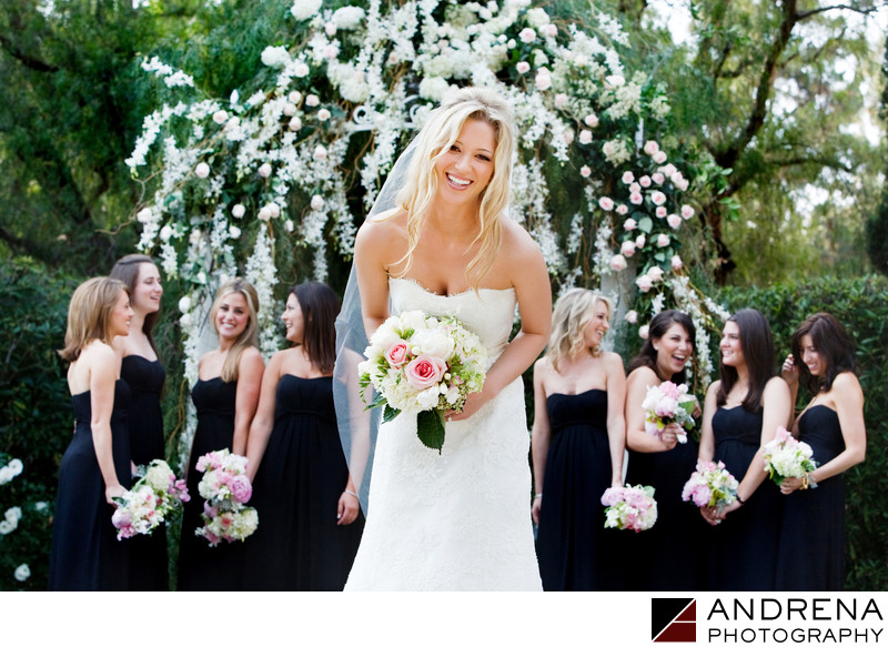 Jewish Wedding Bride and Bridesmaids Beverly Hills Hotel