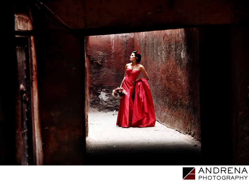 Destination Wedding Photographer Morocco Red Wedding Dress