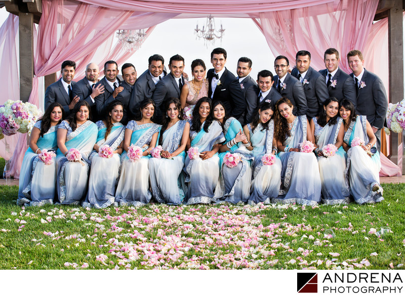 Terranea Indian Wedding Photographer Large Bridal Party