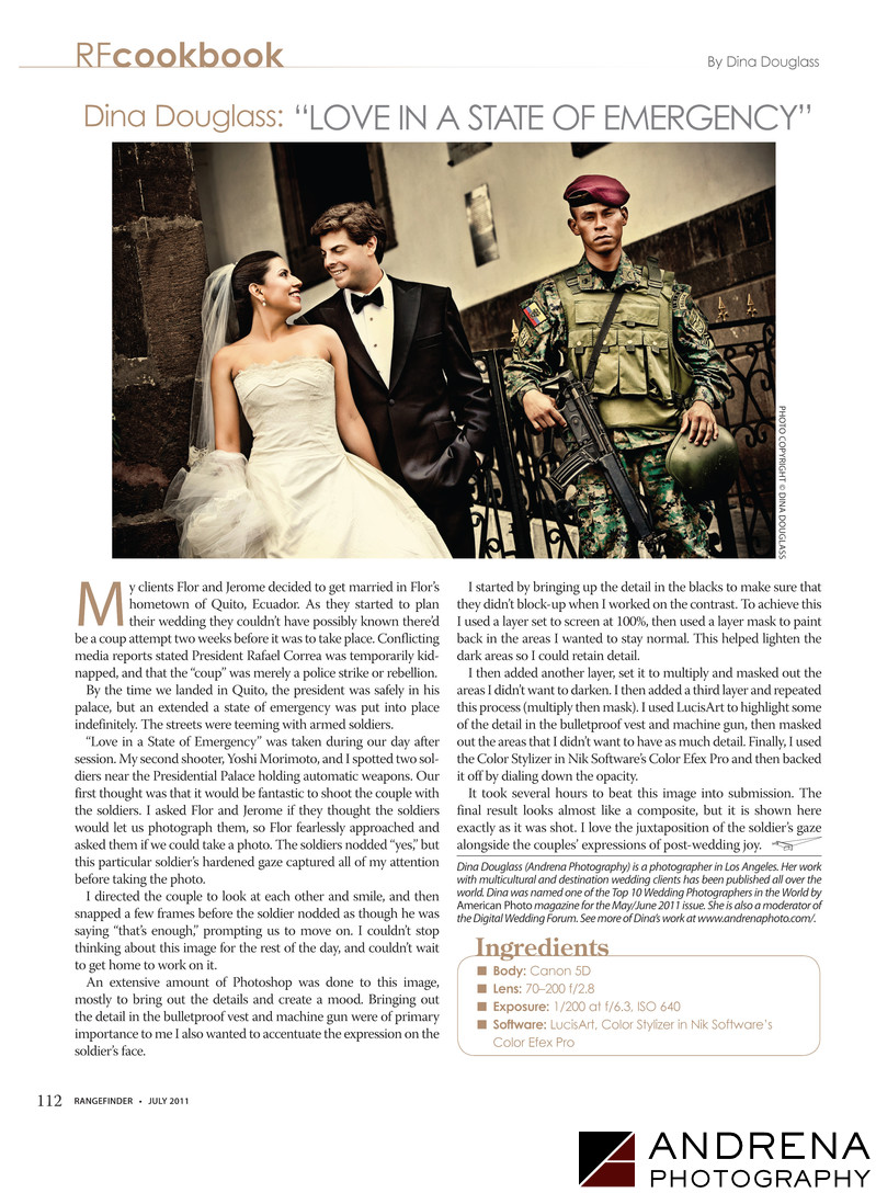 Andrena Photo Wedding Photo with Soldier in Quito Ecuador Rangefinder Magazine