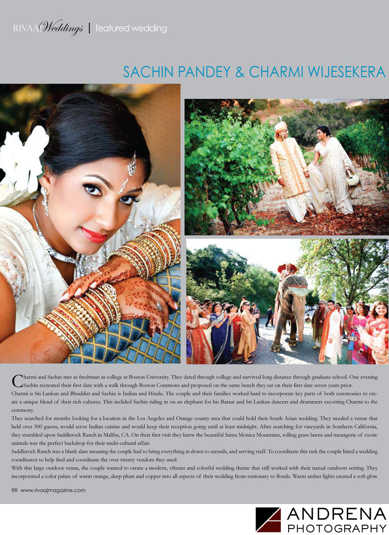 Sri Lankan Wedding Saddlerock Ranch South Asian Bride Magazine