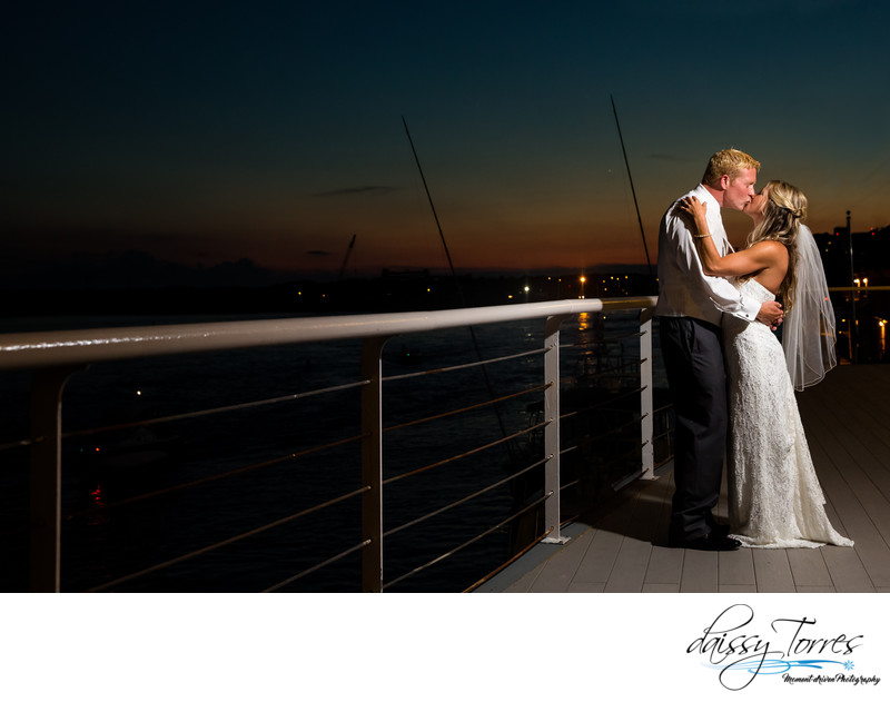 Sunset kisses during a beautiful Lesner Inn Wedding