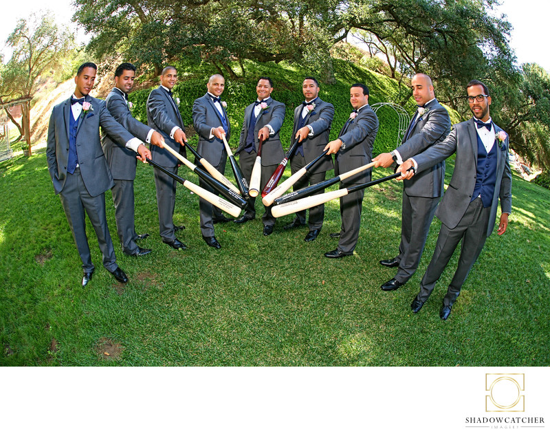 Baseball Loving Groom and Groomsmen on Wedding day