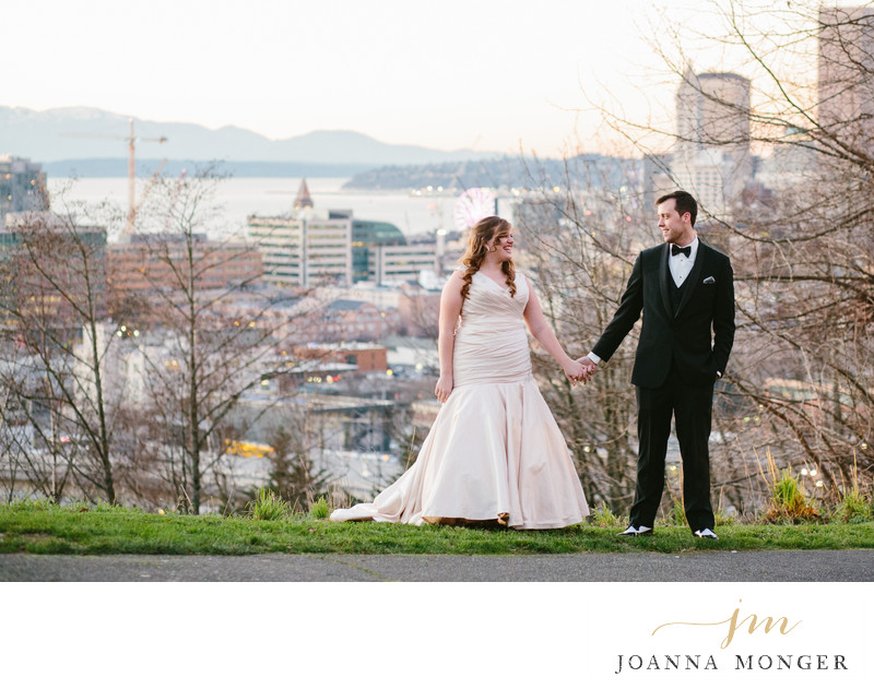 Seattle Wedding Photographer views of downtown city