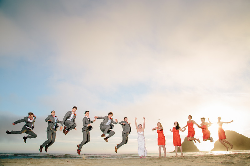 Sunset Wedding Party Photos on Heceta Head Beach.