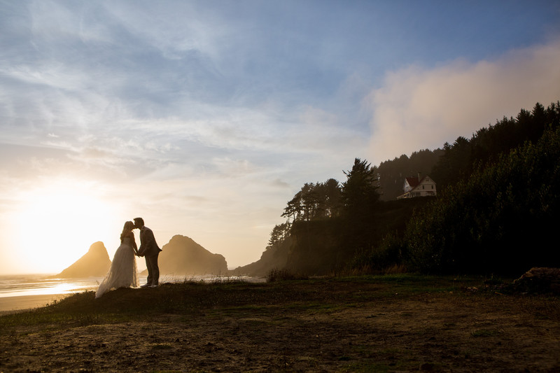 A kiss on Heceta Head Beach as the Sunsets