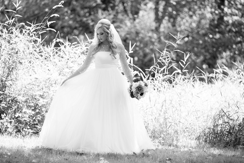 Beautiful Black & White Photo of Bride in her wedding gown.