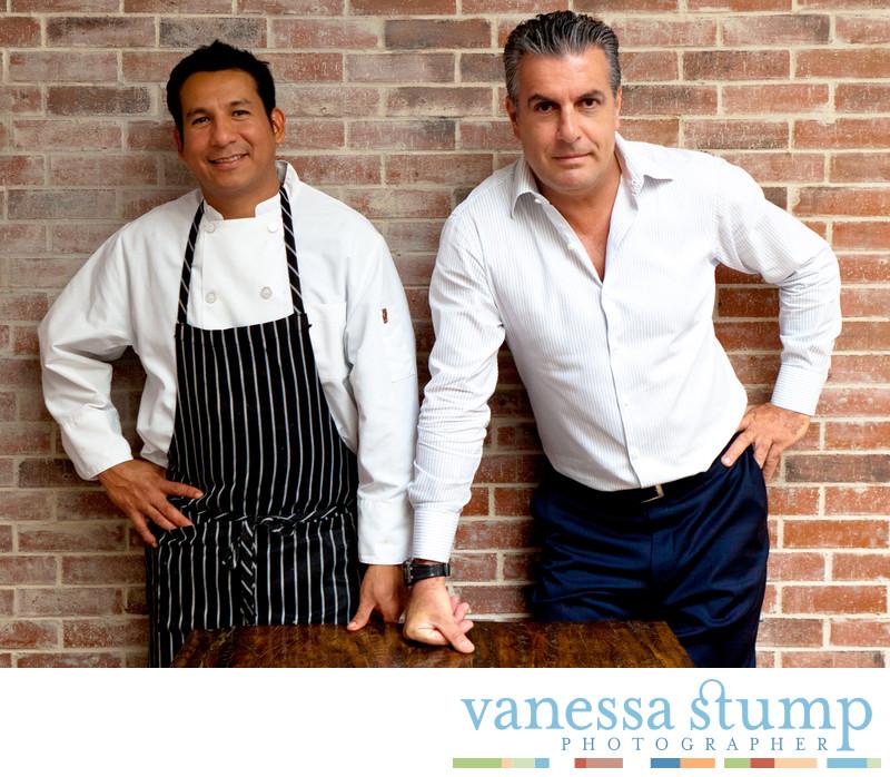 Portrait of chef Jesus Gutierrez and owner Armando Pucci