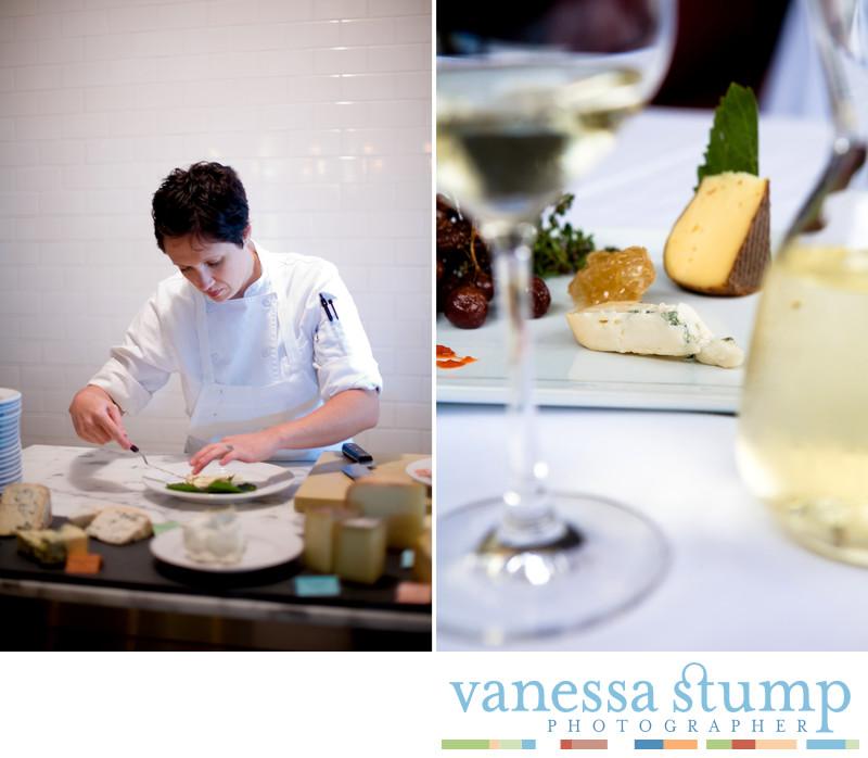 Chef preparing a cheese plate