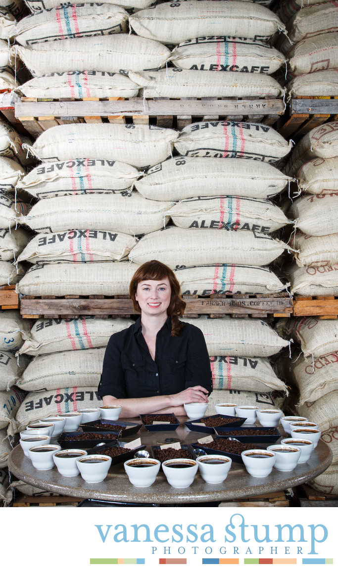 Environmental portrait of Designer Marilee Sweeney at Gavina Gourmet Coffee