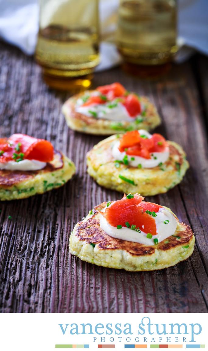 Scallion Pancakes with Smoked Salmon