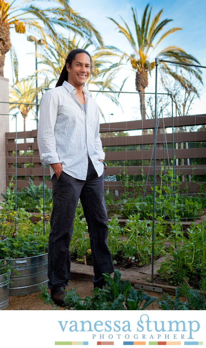 Chef Govind Armstrong in the kitchen garden at Post and Beam