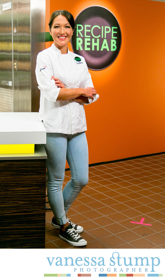 Portrait of Chef Candice Kumai on the set of Recipe Rehab