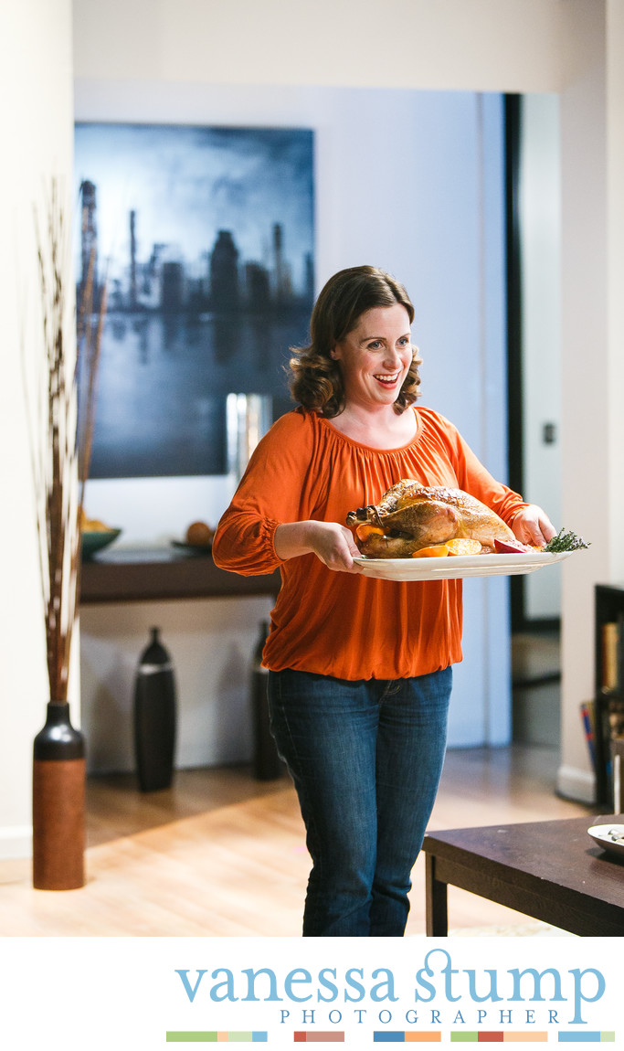 Hostes serving a roast turkey