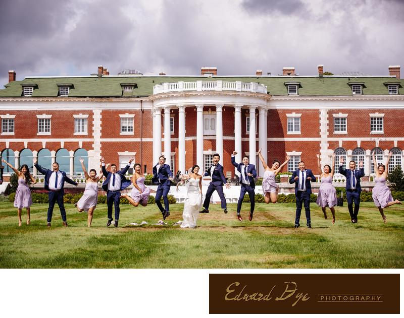 Bourne Mansion in Oakdale, Long Island Wedding jump