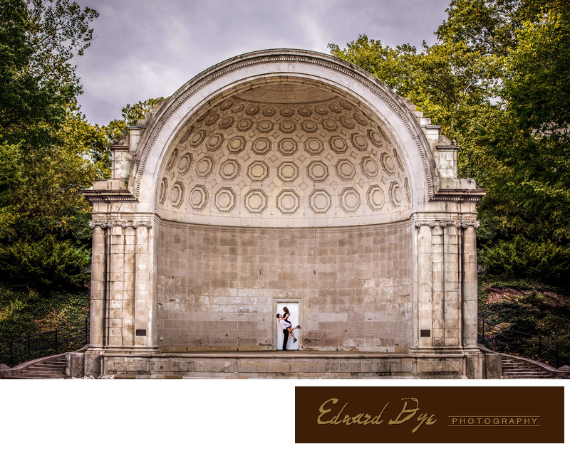 Central Park engagement photo The Mall & Literary Walk