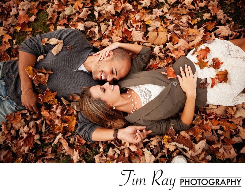 Engagement portrait in the leaves