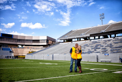 Engagement Portrait at Mountaineer Field, Mylan Puskar