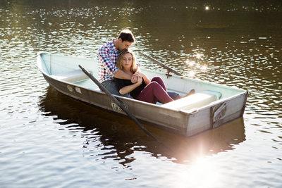 Engagement Portrait in Boat