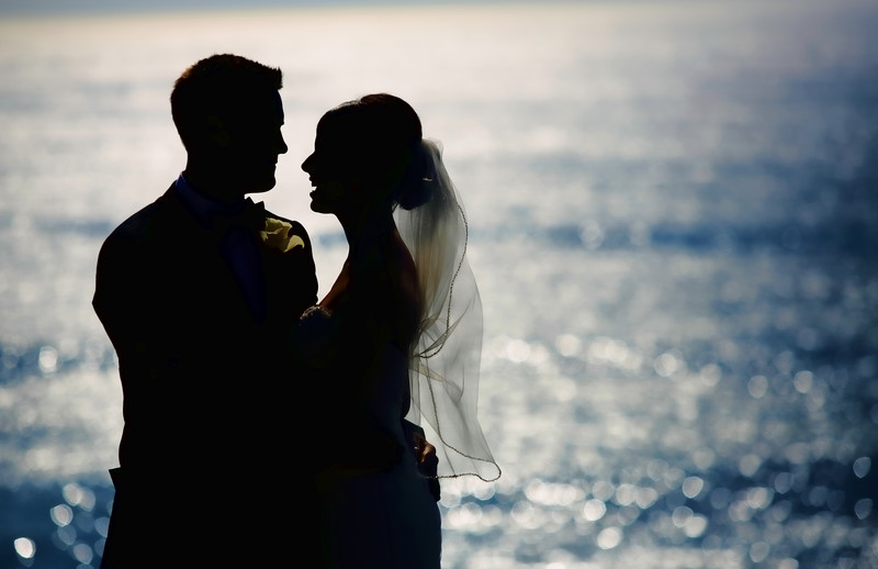 Wayfarers Chapel Wedding, Water Sunset