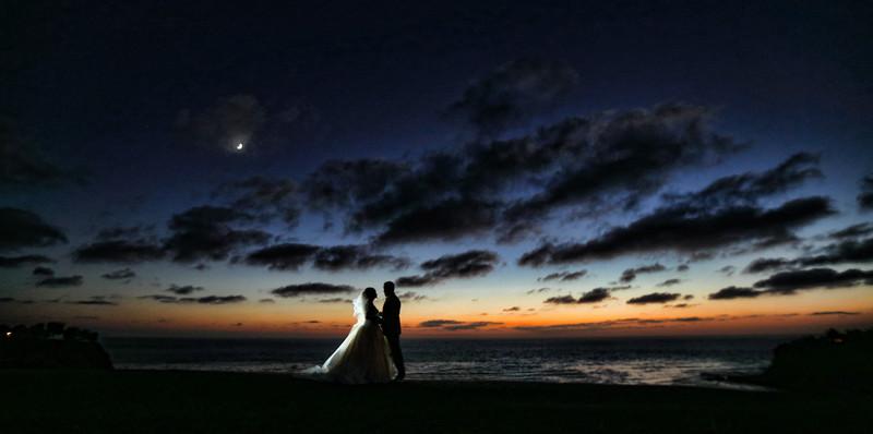 Wayfarers Chapel Wedding, Beautiful Sunset