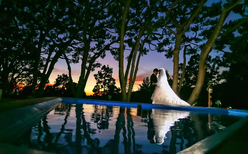 Wayfarers Chapel Wedding Sunset, Water Reflection