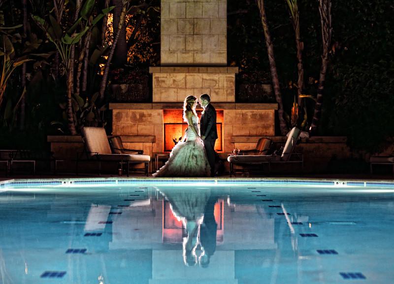 Los Angeles Wedding, Hotel Pool Nightshot