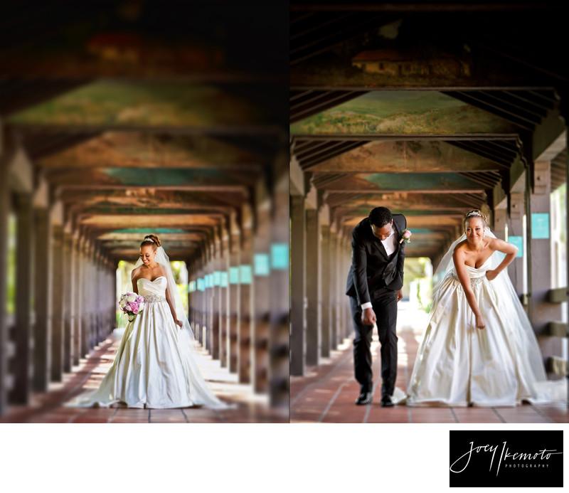 Langham hotel pasadena wedding bride and groom dancing