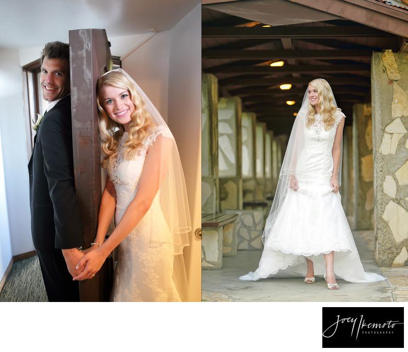 wayfarers chapel wedding, brides first touch
