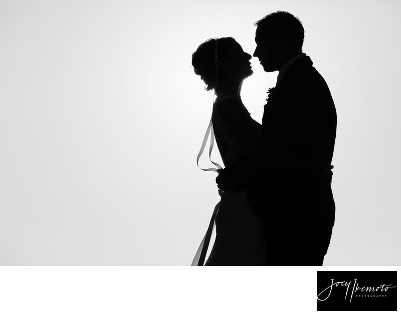 Los Verdes Country Club Wedding black and white sunset