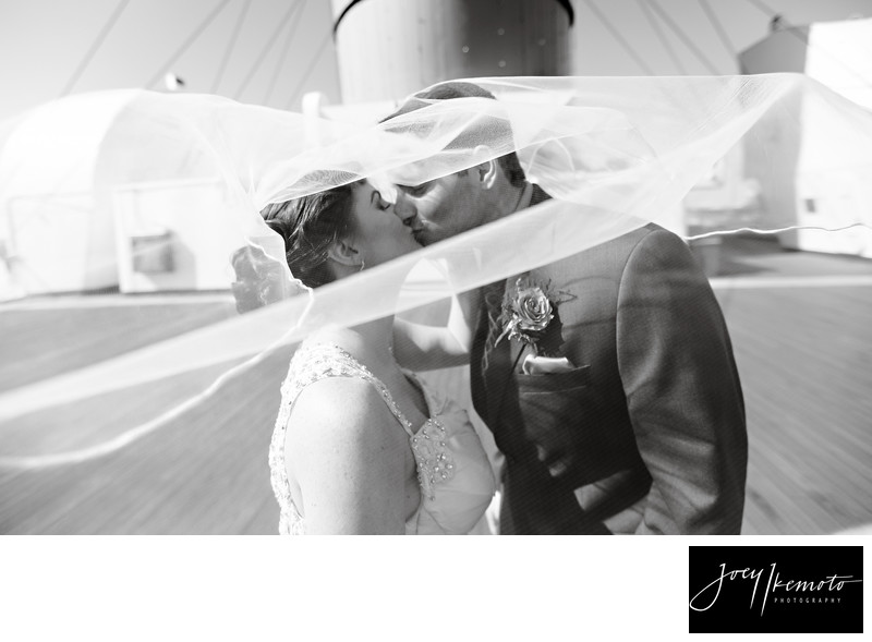 The Queen Mary Long Beach Wedding Kiss the Veils