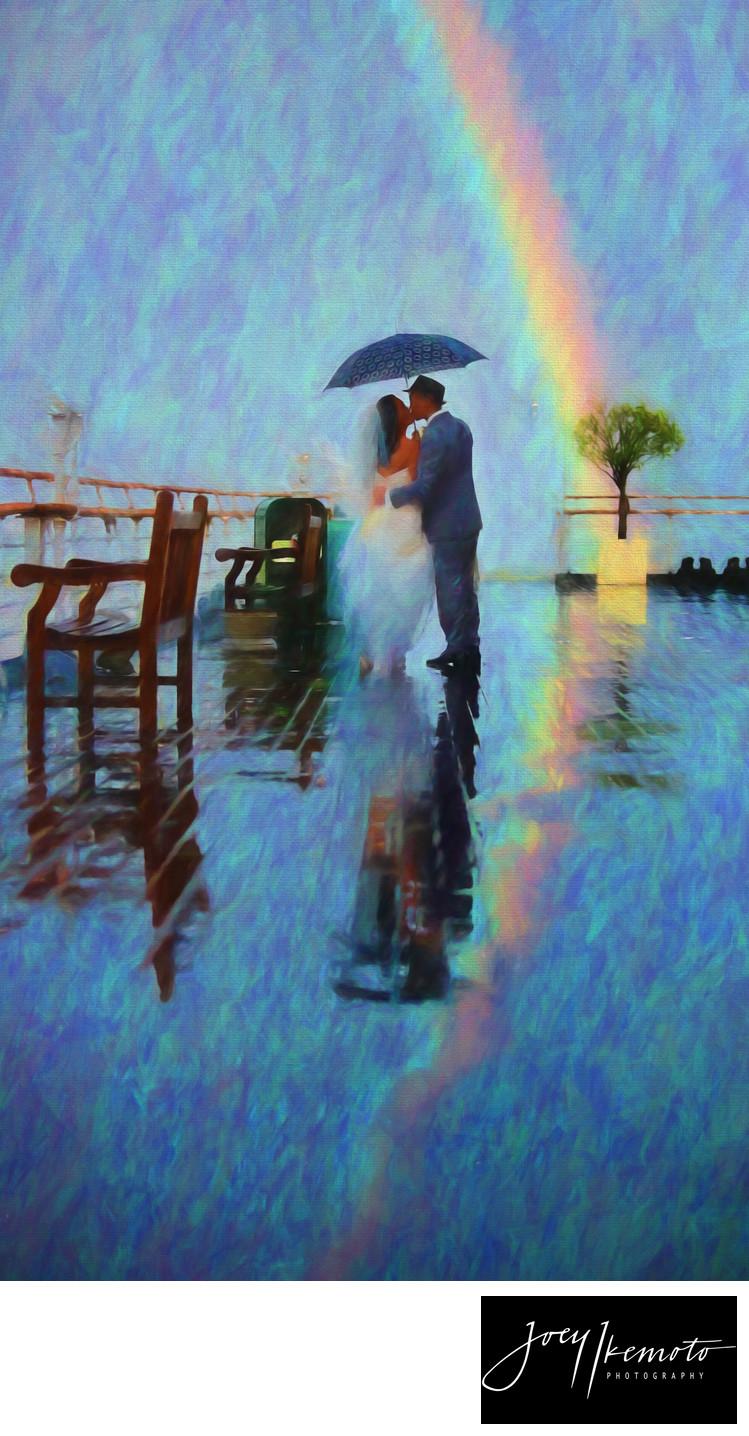 Queen Mary Wedding Rainbow Sunset